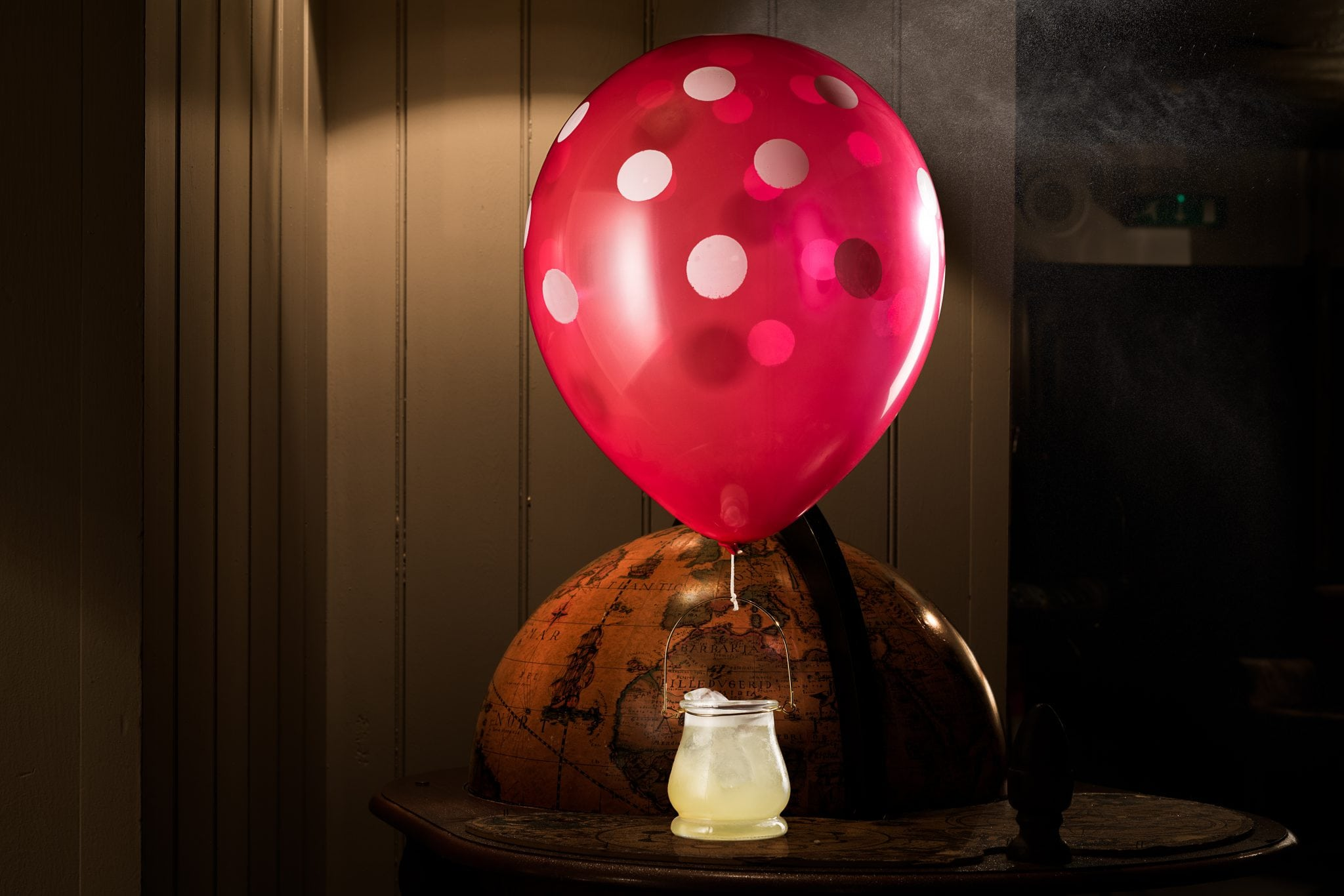 cocktail with helium balloon